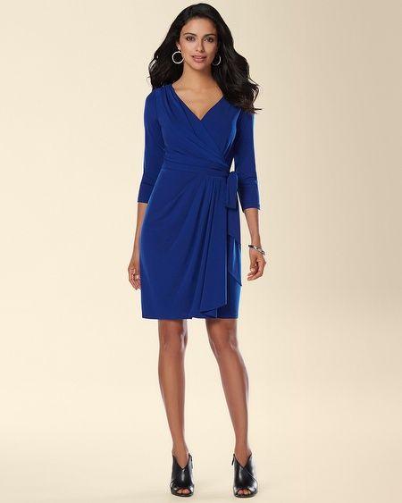 Soma Ivy and Blu 3 4 Sleeve Faux Wrap Dress 07e65119a