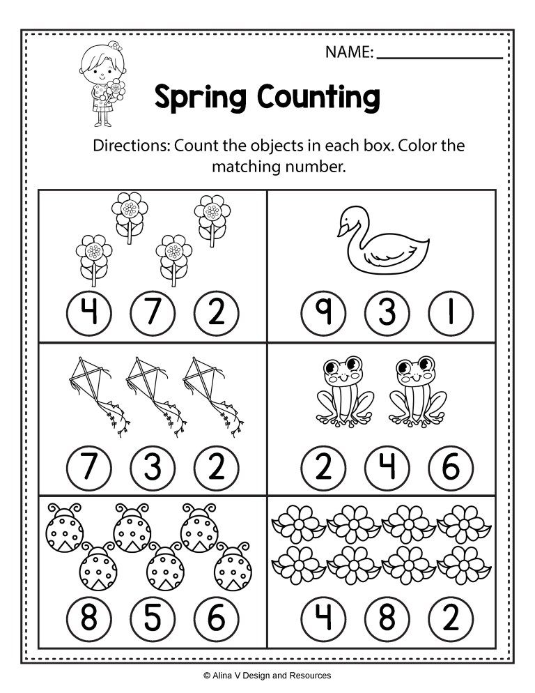 Free Spring Math Worksheets For Kindergarten No Prep Spring