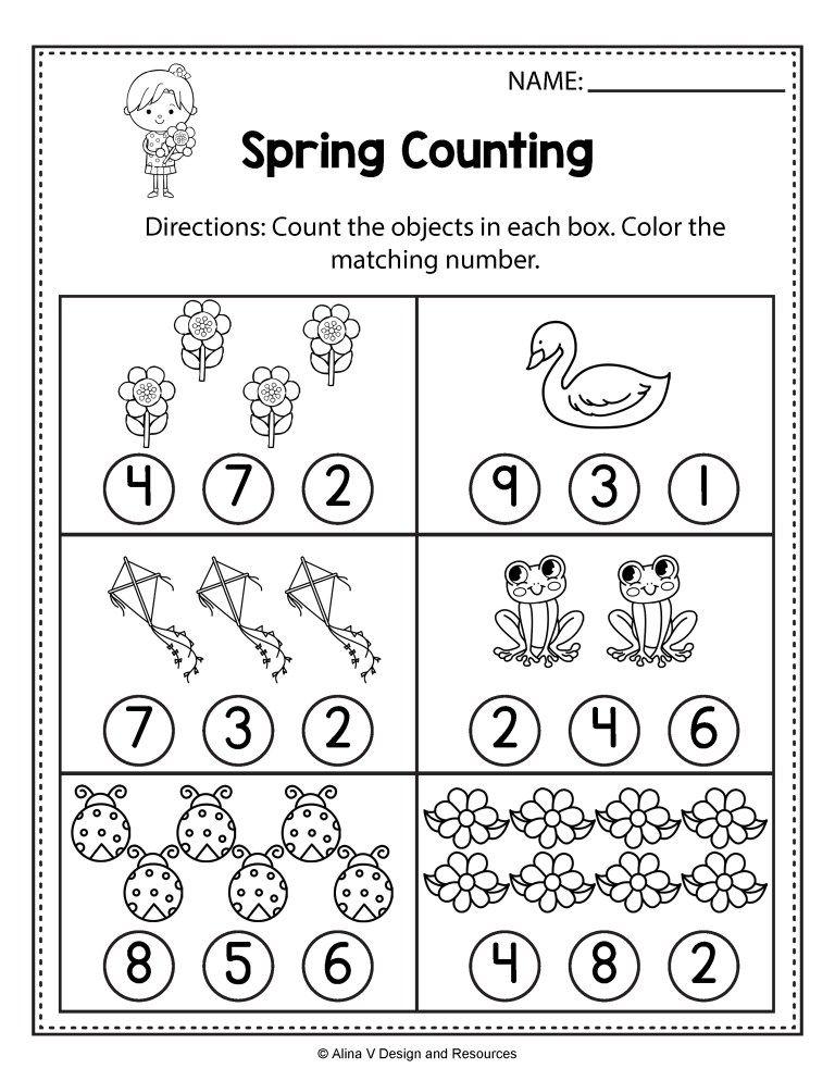 FREE Spring Math Worksheets for Kindergarten (No Prep