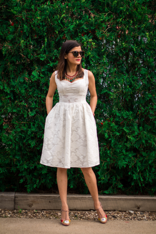 Need that gorgeous white Sunday dress? See how Monica styled this one: http://www.thestreetedit.com/style/2016/6/14/the-little-white-dress
