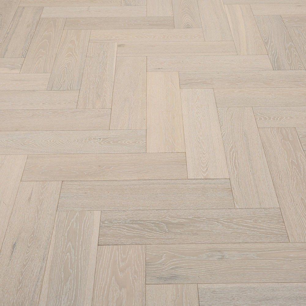 Whitewashed Herringbone Oak Brushed & Lacquered Engineered Wood ...