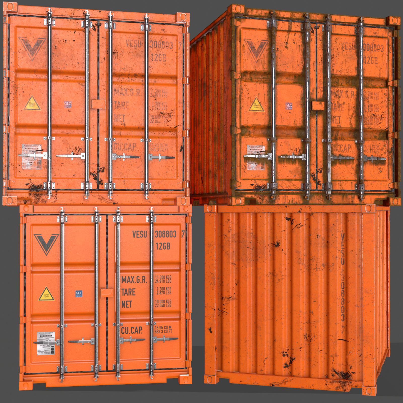 Pbr 10 Ft Storage Container Orange 3d Model In 2020 Low Poly 3d Models Storage Containers Pbr