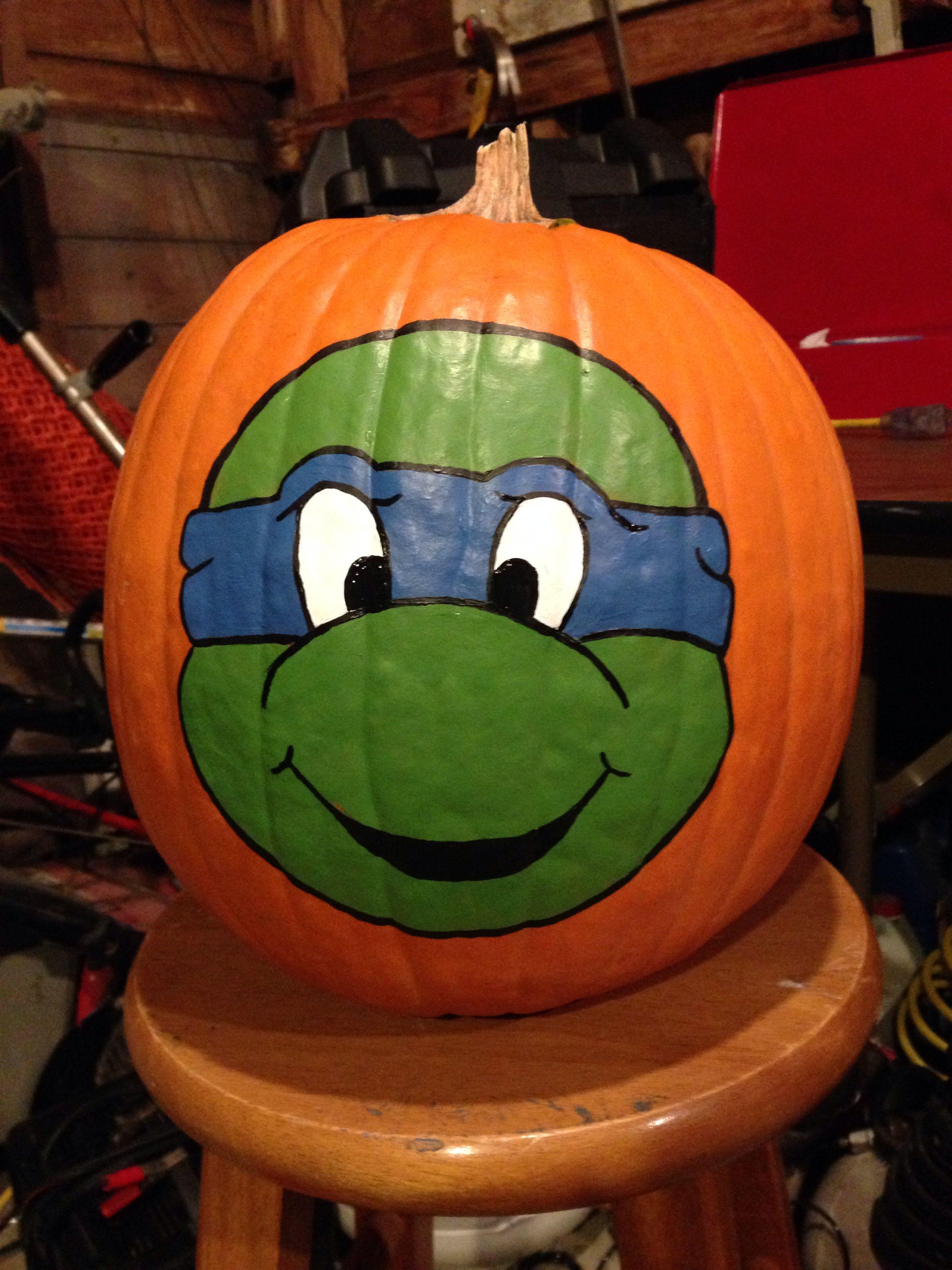 Leonardo Ninja Turtle Paintedpumpkin Halloween Punpkin