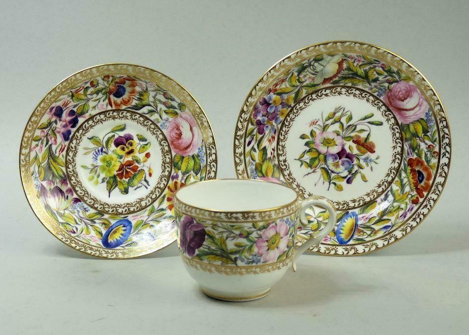 Exquisite Derby King St Porcelain Cabinet Cup Saucer Plate C 1860 Antique China Exquisite Porcelain
