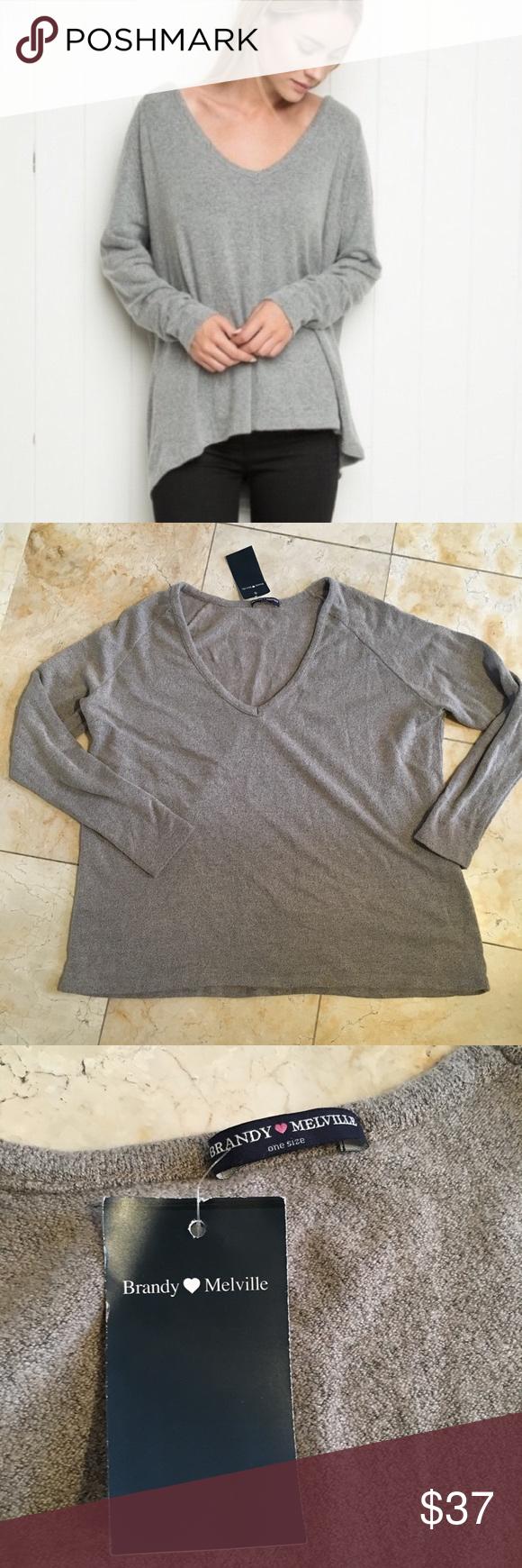 BrandyMelville Light brown oversize vneck sweater | Brandy ...