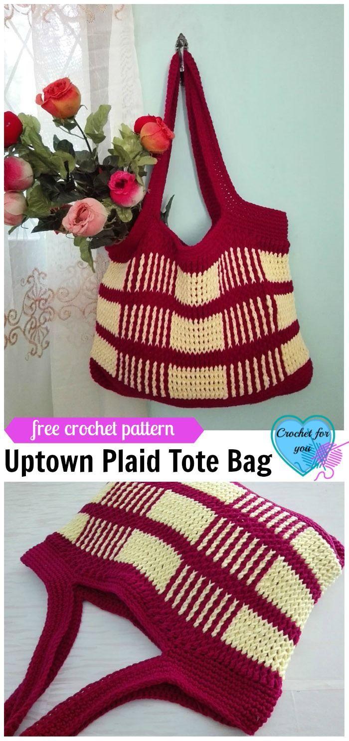 Crochet Uptown Plaid Tote Bag Free Pattern   Bolso tejido, Bolsos ...