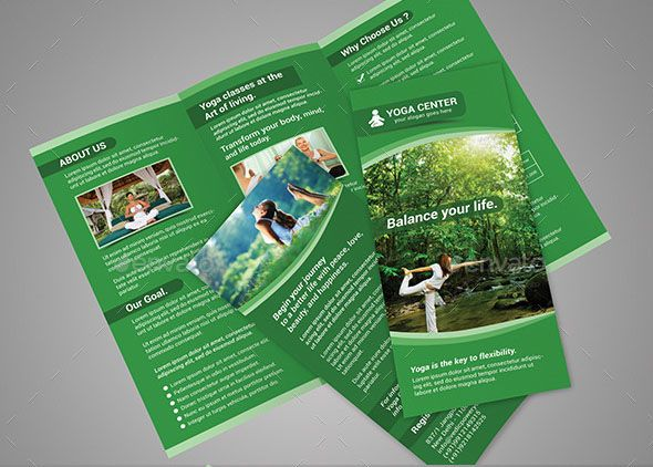 TriFold Brochure For Yoga Classes Or Yoga Center Is The Good Way