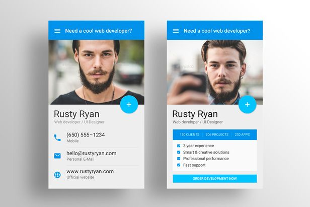 MaDe - Material Design Resume   CV Template Material design - resume business cards