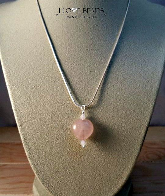 rose quartz heart necklace-rose quartz pendant- rose quartz-heart necklaces-silver necklaces-heart pendant necklace