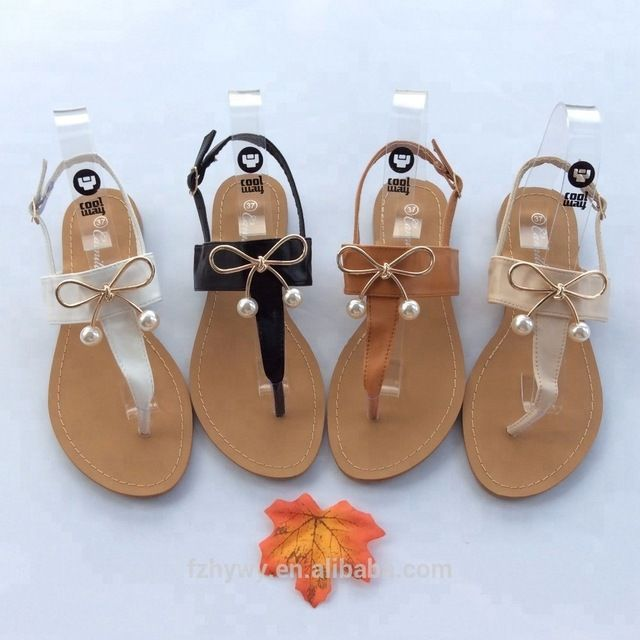 dbd527ece47bc3 Source Ladies summer fashion flat sandals shoes with bow 2018 on m.alibaba. com