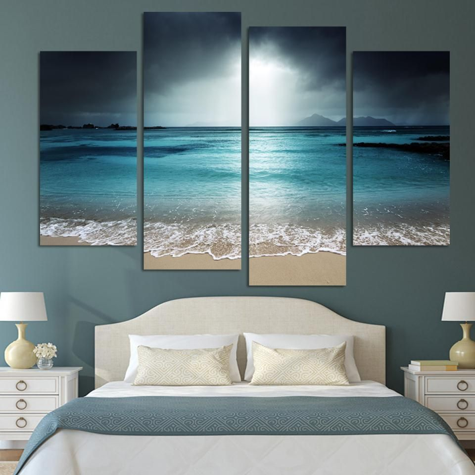Beach scene modern wall art set throw pillows ocean and artwork