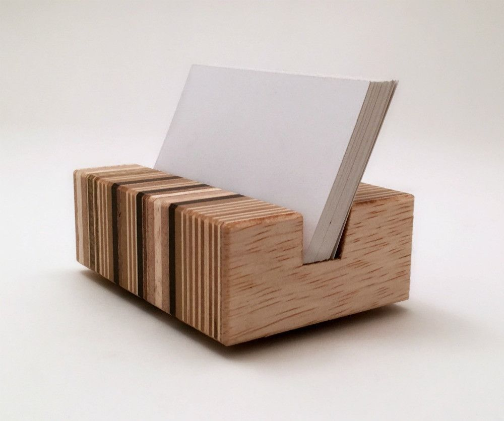 Retro Modern Wood Business Card Holder | Home decor ideas ...