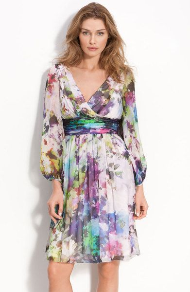 Maggy London Abstract Floral Print Silk Chiffon Dress in Multicolor (white/ multi) - Lyst