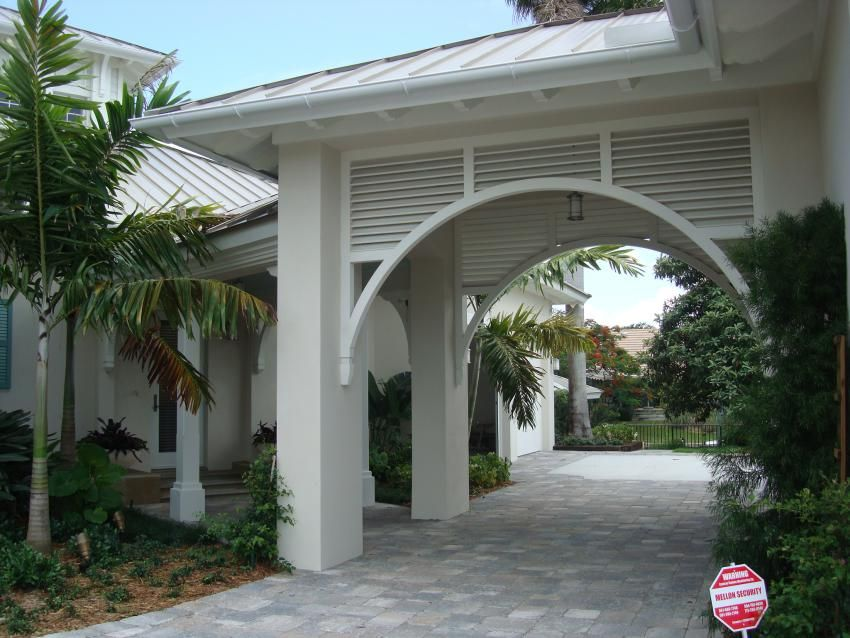 Drive Through Portico By Hardie Boys Inc Exterior British Colonial Courtyard Entry