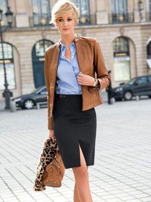 jupe crayon, blouson en cuir et chemise laura clément   Mode   Tenue ... 787b921a7436