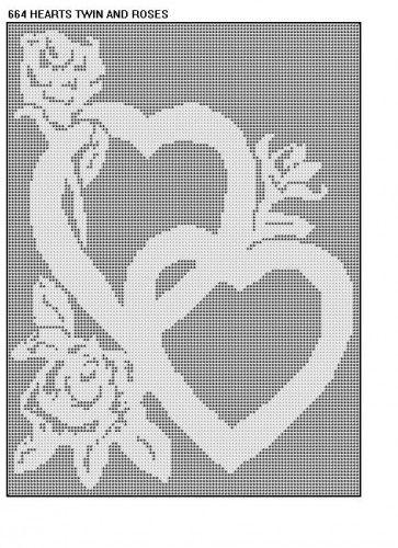664 Hearts And Roses Filet Crochet Doily Mat Runner Afghan Pattern