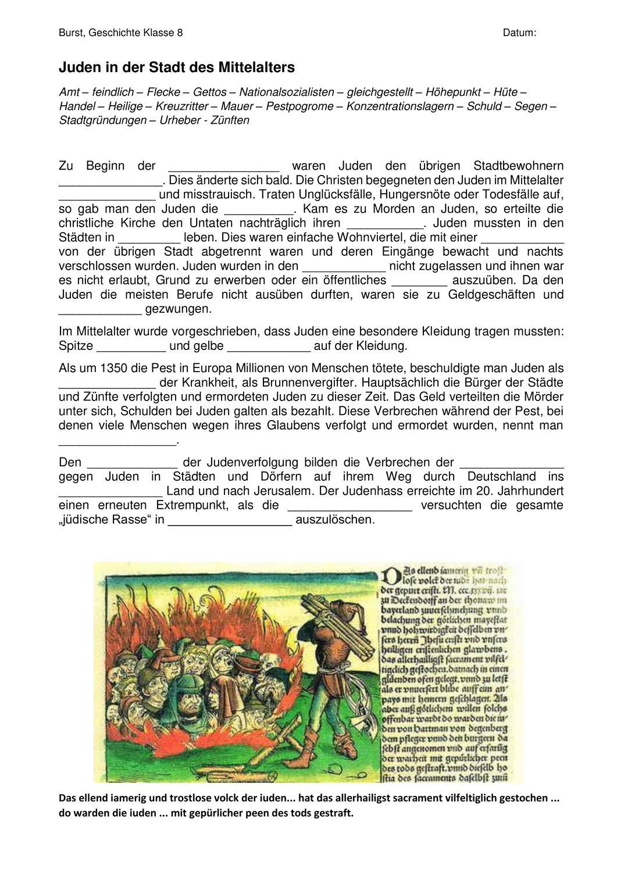 Juden In Der Mittelalterlichen Stadt Luckentext Unterrichtsmaterial Im Fach Geschichte In 2020 Juden Mittelalter Geschichte
