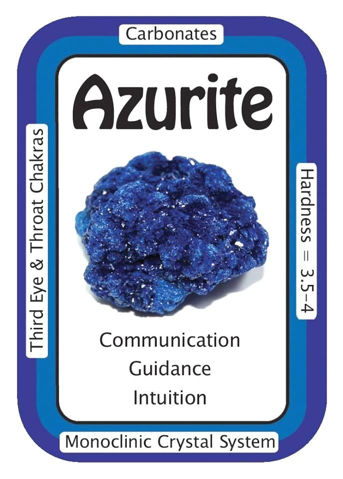 "Azurite, ""I am open to guidance from the Universe.""  Azurite is a lovely Third Eye Chakra stone, awakening psychic abilities and helping the user to recognize intuition and spiritual guidance when it occurs.   Helpful in relieving worries, phobias, and nagging negative thoughts, Azurite also helps one to recognize the areas in life needing attention.   Code HCPIN10 = 10% off  www.healingcrysta..."