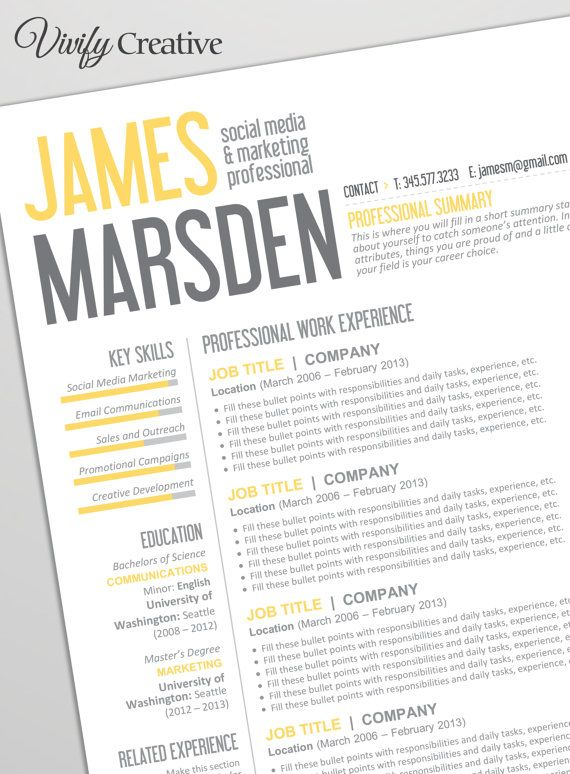 Resume Template Editable Download Cover Letter by VivifyCreative - professional summary template