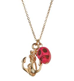 Fun Skull Anchor Charm Necklace