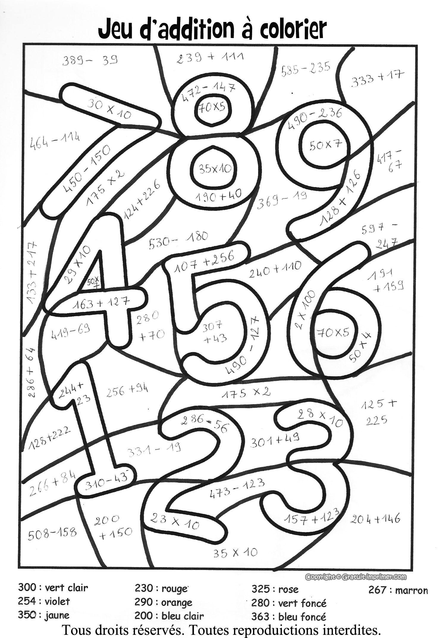 Coloriage Magique Multiplication  colorier Dessin  imprimer