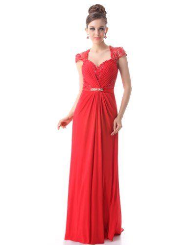Ever Pretty Sexy V Neck Padded Rhinestones Trailing Wedding Dress 09867 HE09867RD18 Red