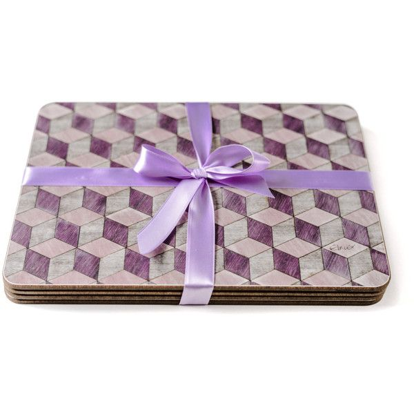 4 Mauve Placemats Mothers Day Gift Her Place mat Geometric Art Deco... (€39) ❤ liked on Polyvore featuring home, kitchen & dining and table linens