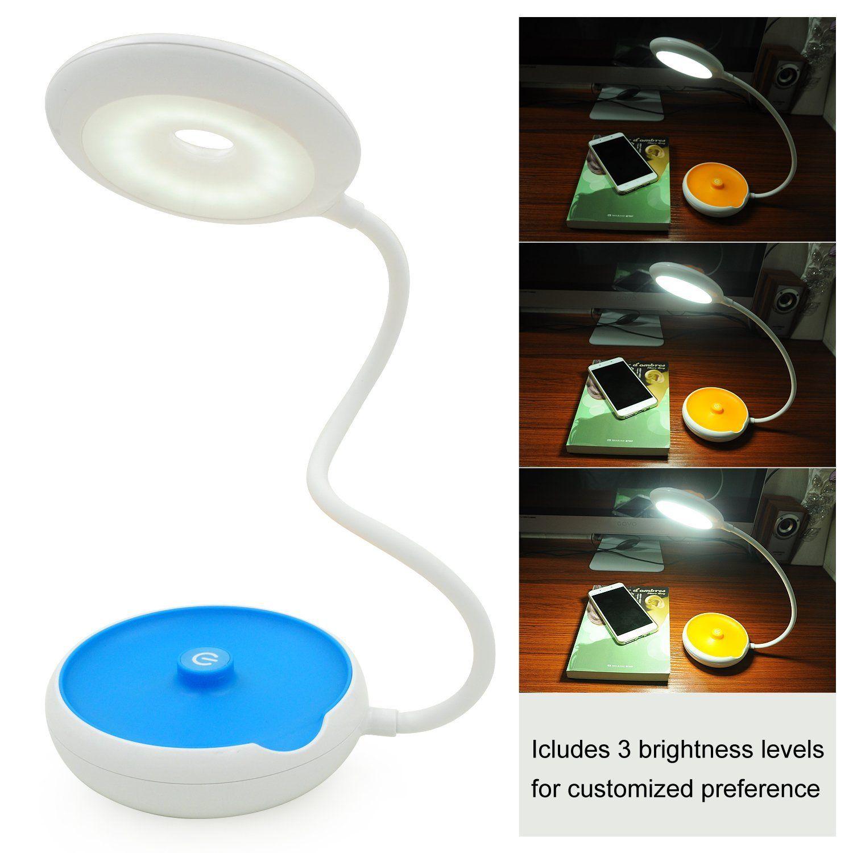 GARMAR LED Portable Desk Lamp, Dimmable 3-Level Brightness