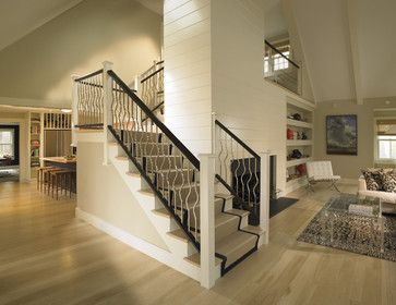 Brushed Nickel Balisters With Dark Wood Handrail Staircase Design Contemporary Fireplace Designs Modern Staircase