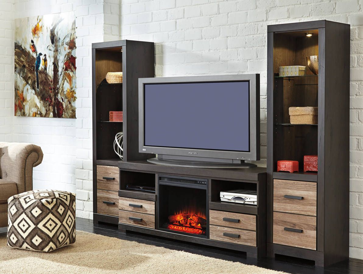 entertainment centers with fireplace  dactus - entertainment accessories wood metal entertainment center w