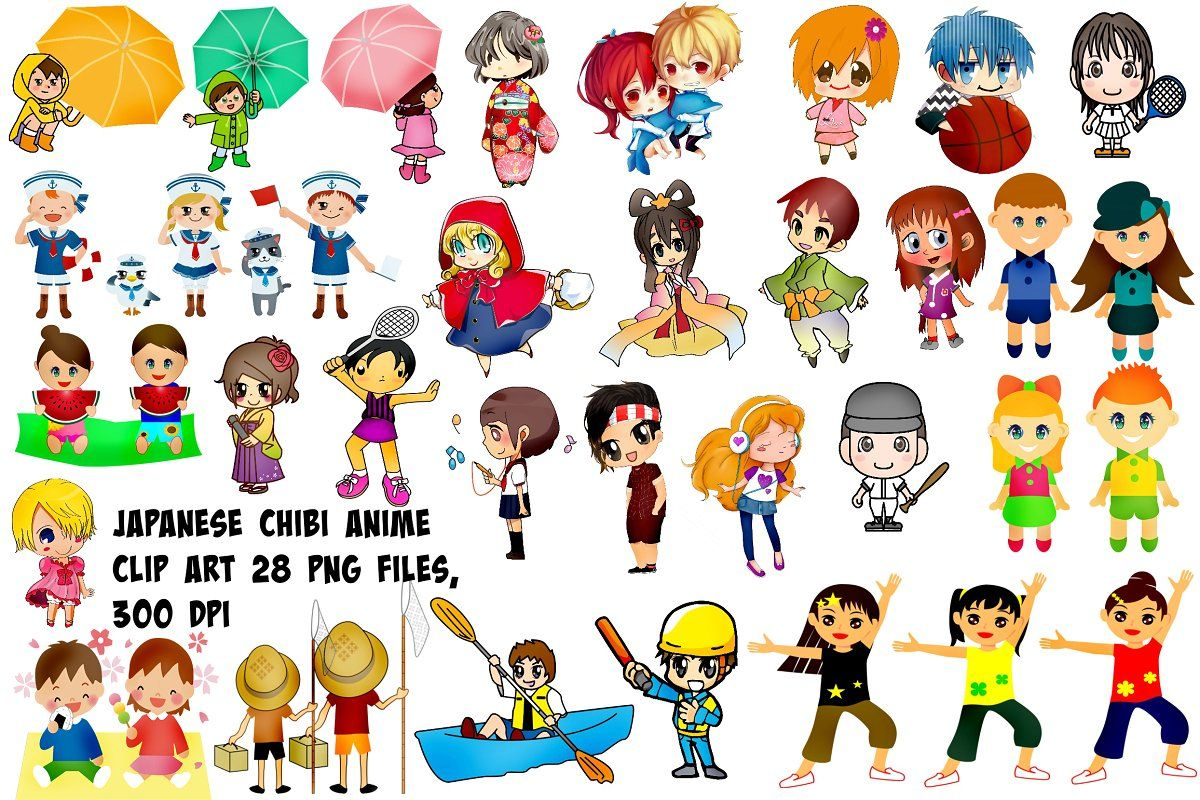 Japanese Chibi Anime Clip Art Anime Chibi Art Chalk Art