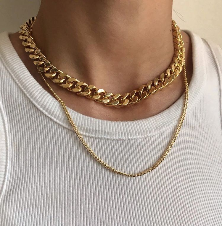 Gold-filled chain-large paperclip links-hip hop chain-chain Choker-Statement Chain Necklace-everyday necklace-gift Cubic zirconia necklace