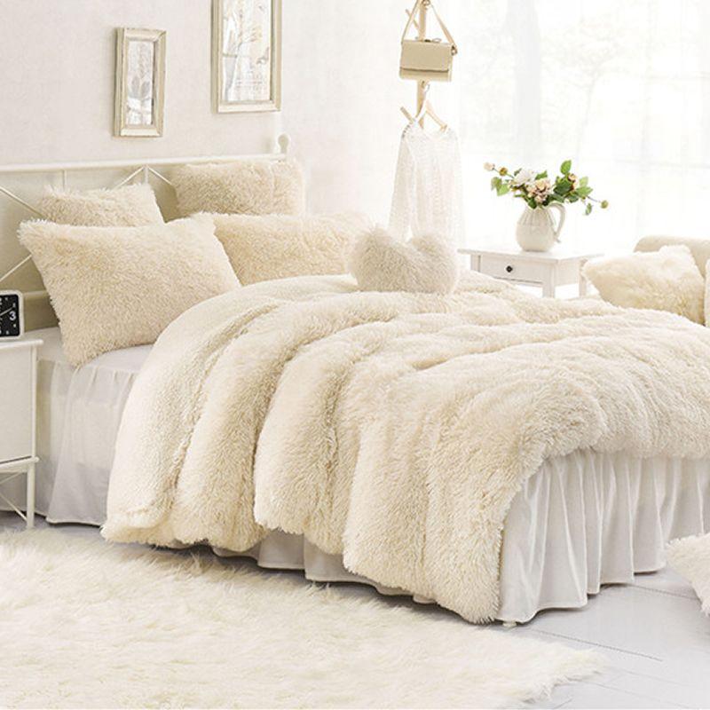 Vivilinen Solid Creamy White Super Soft 4 Piece Fluffy Bedding Sets Duvet Cover Fluffy Bedding Luxury Bedding Bedding Sets