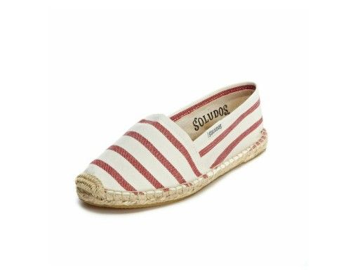 Soludos. White and red stripe kids Dali Espadrille. #goopget