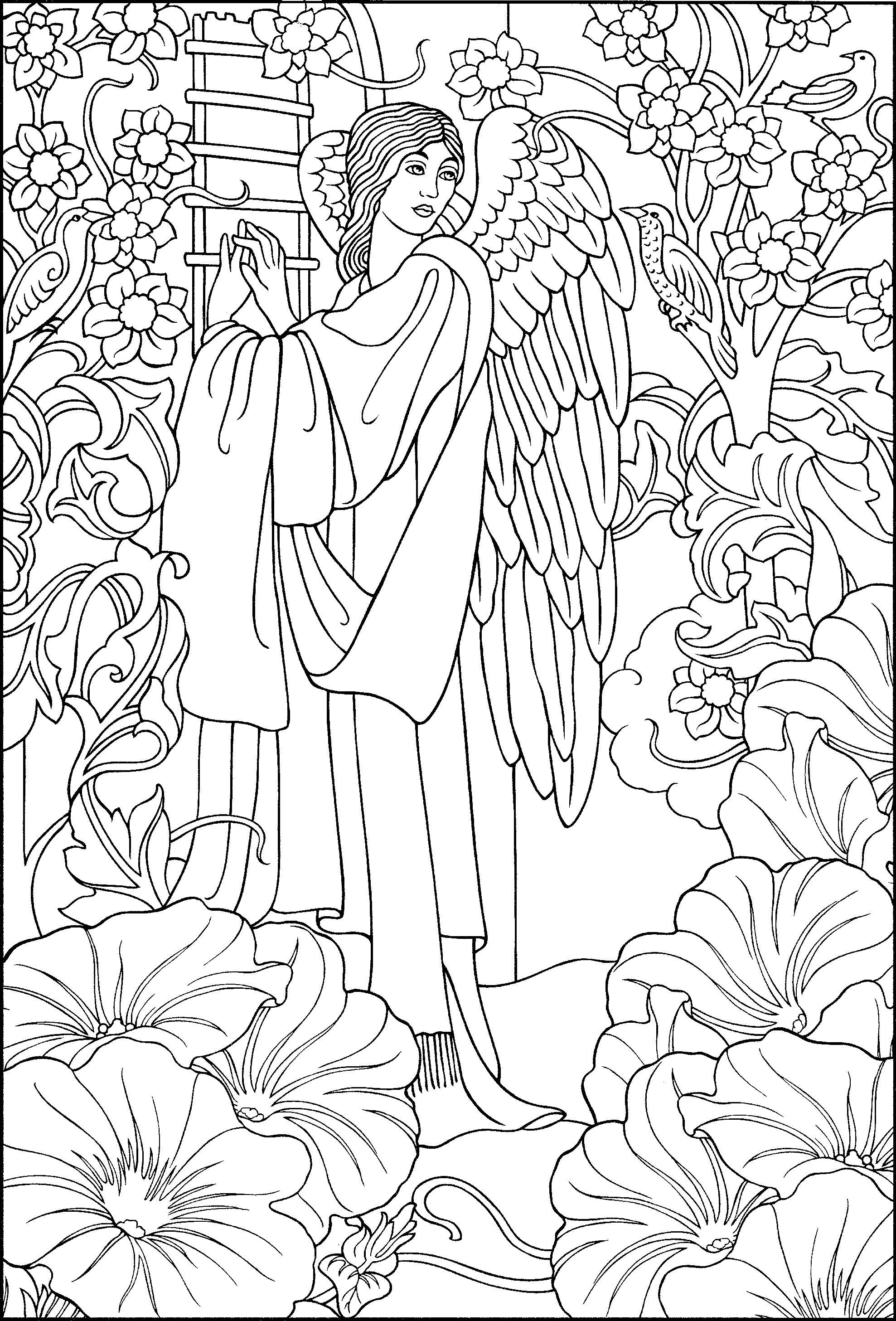 Beautiful Angel coloring page | Angel coloring pages, Adult ...
