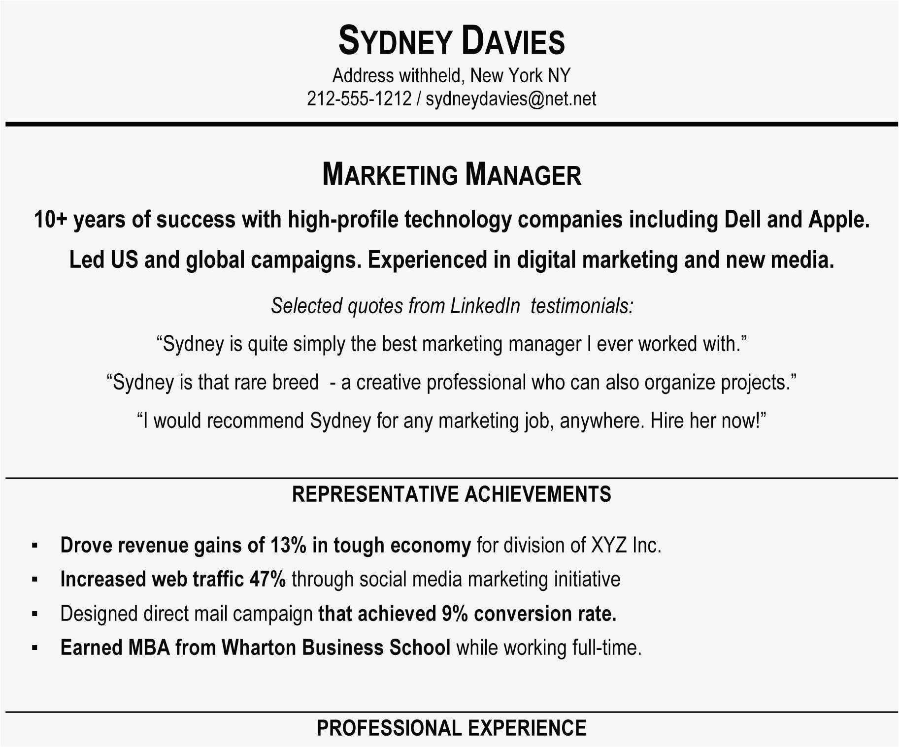 76 Best Of Photography Of Examples Of Marketing Resume