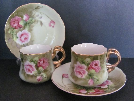 Lefton Green Heritage Rose Two Demitasse Cup and Saucer