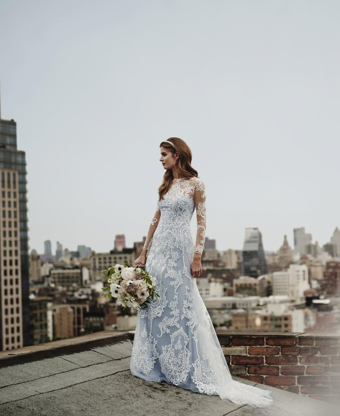 Illusion Lace Long Sleeve Sheath Wedding Dress David S Bridal Long Sleeve Sheath Wedding Dress Lacey Wedding Dress Wedding Dresses [ 1383 x 1128 Pixel ]