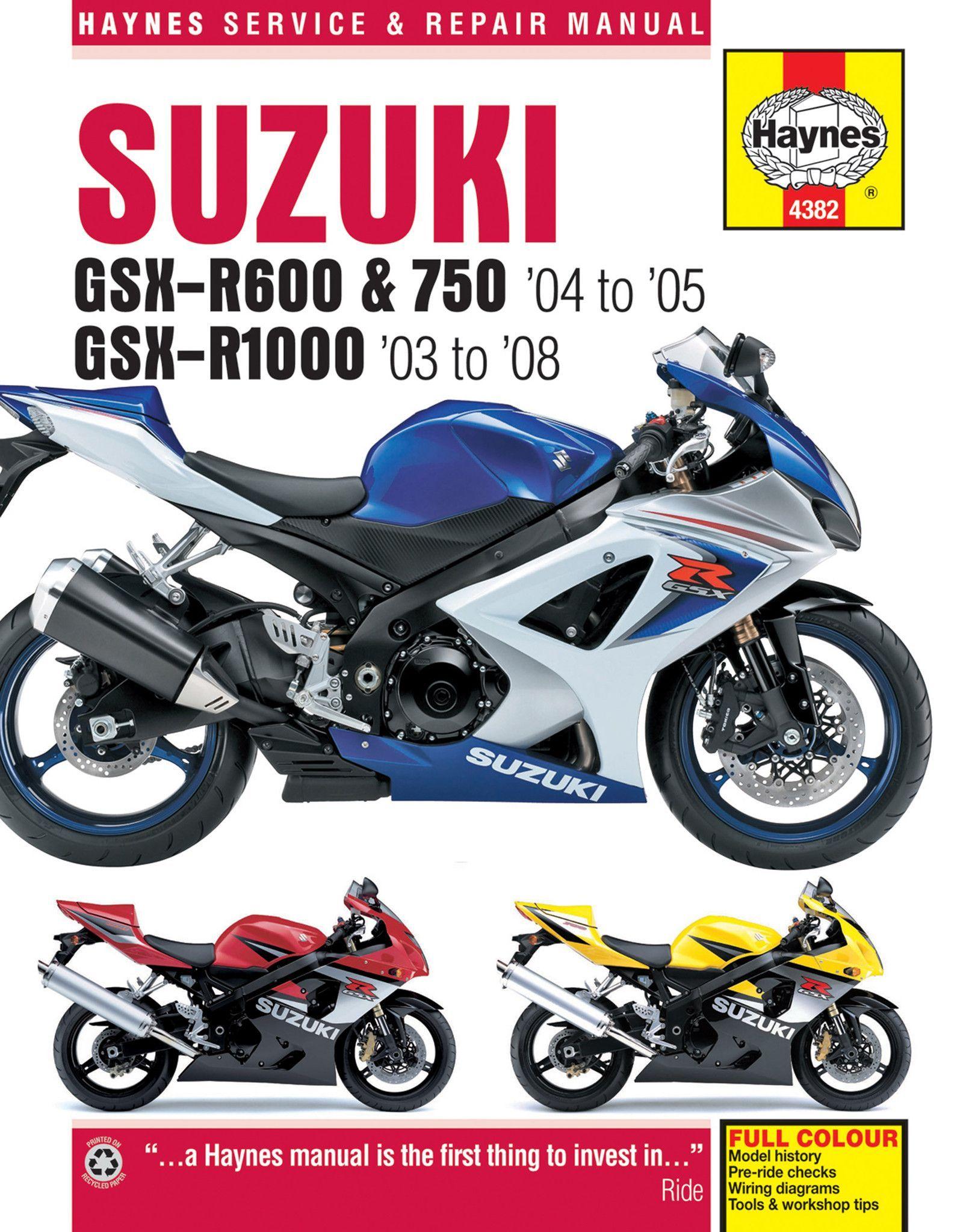 Haynes M4382 Repair Manual for Suzuki GSX-R600, 750, and GSX-R1000