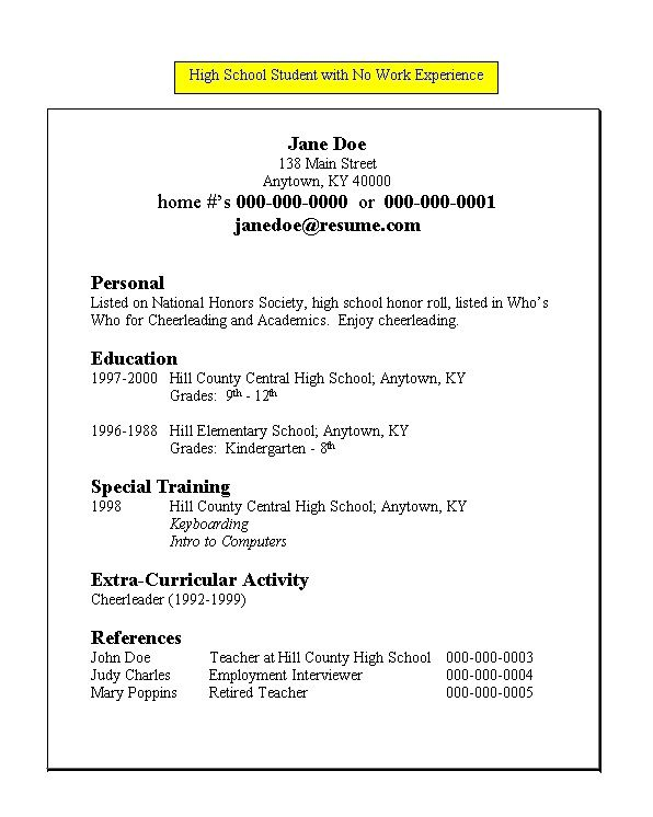 free resume templates for highschool students with no work experience
