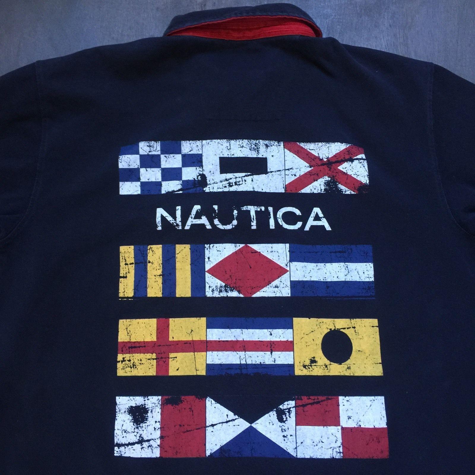 NAUTICA MEN NAVY INTERNATIONAL CHALLENGE FLAG SHORT SLEEVE RUGBY