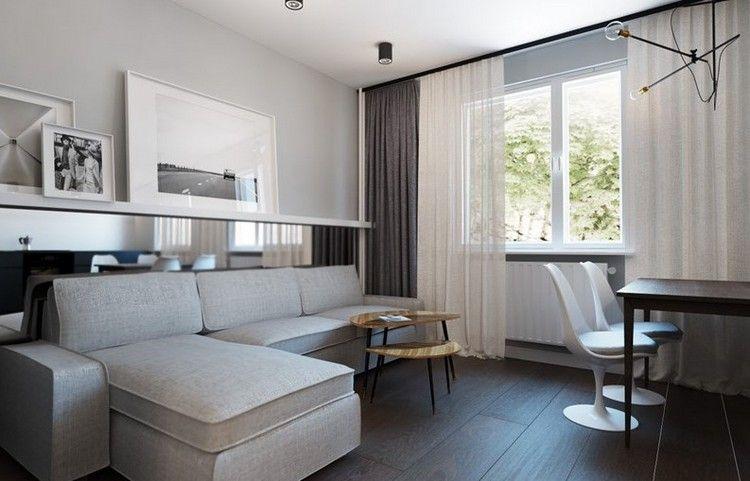 wohnungseinrichtung-ideen-wohnzimmer-essbereich-graues-ecksofa - wohnzimmer mit essbereich ideen