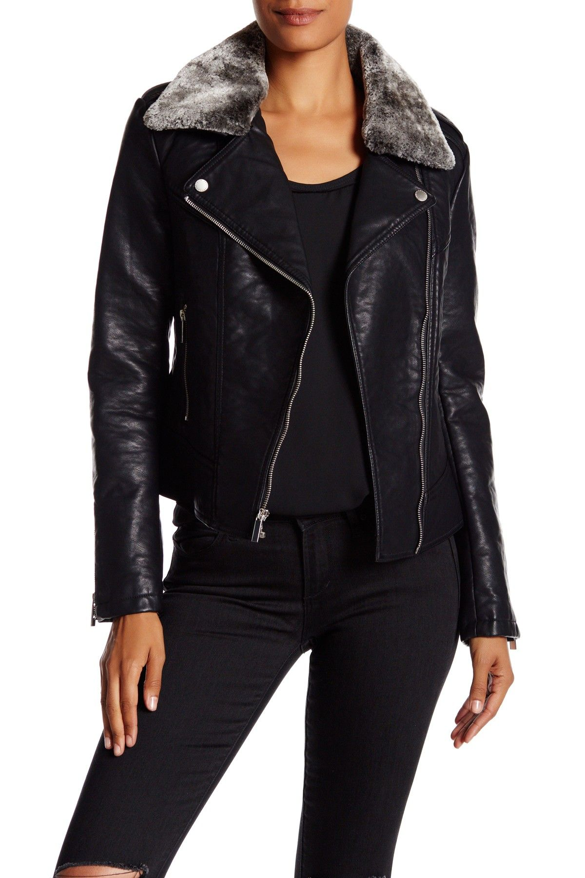 Faux Fur Trimmed Faux Leather Jacket by French Connection on @nordstrom_rack