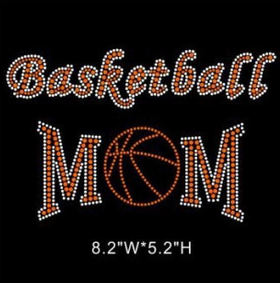 Basketball Mom Iron On Hot Fix Rhinestone Bling Transfer
