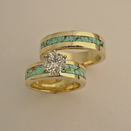 Turquoise Engagement Ring With Matching Mens Wedding Band I Ve Never Seen Anything Like This Love It