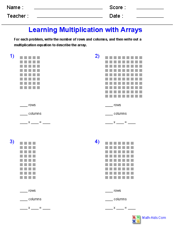math worksheet : learning multiplication with arrays worksheets  jojo school  : Learning Multiplication Worksheets