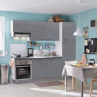Petite cuisine bleue et grise Leroy Merlin | Aménager la cuisine ...