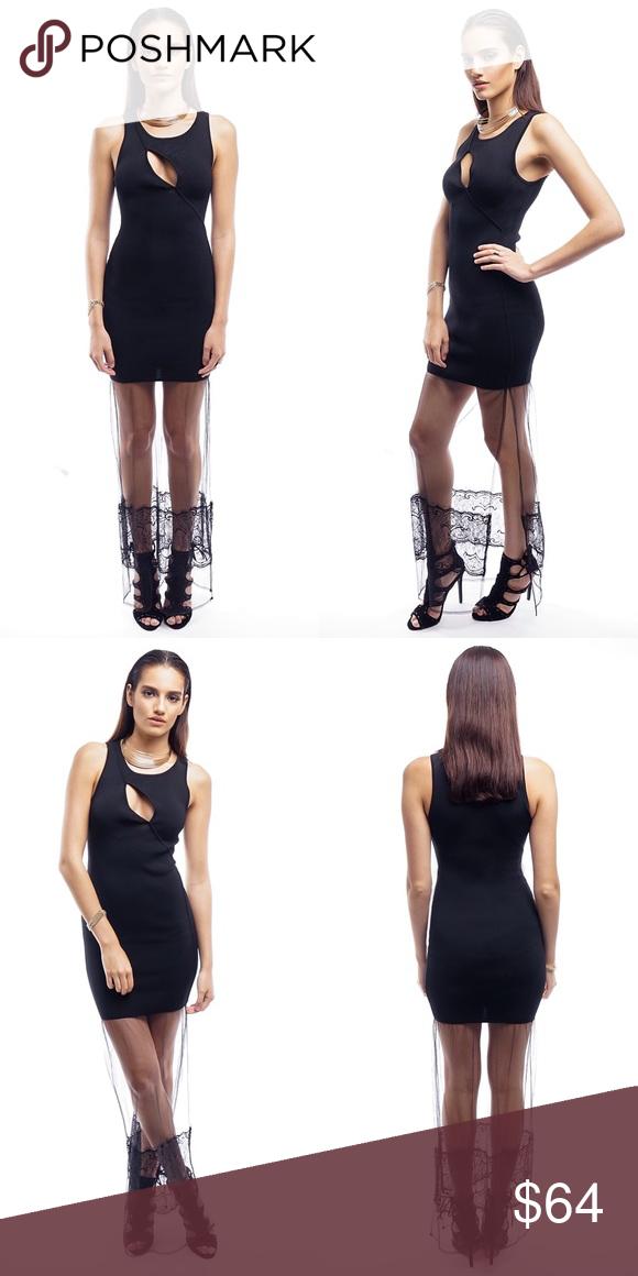 BLACK FORM FITTING LONG LACE DRESS Black Sleveless Dress Lace Train Trail 53% Rayon 53% Nylon Style Link Miami Dresses Maxi
