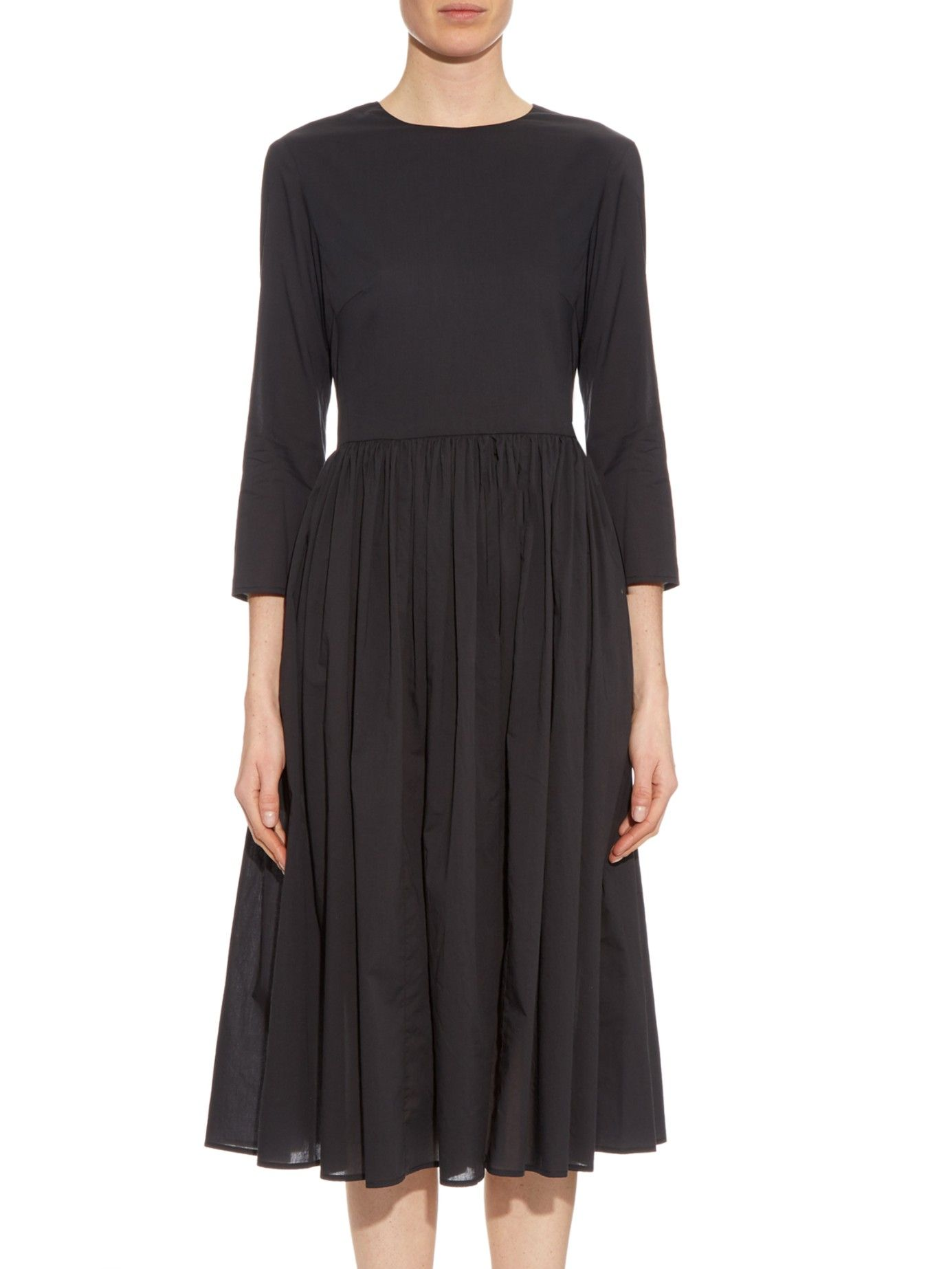 Cotton-voile gathered dress   Brock Collection