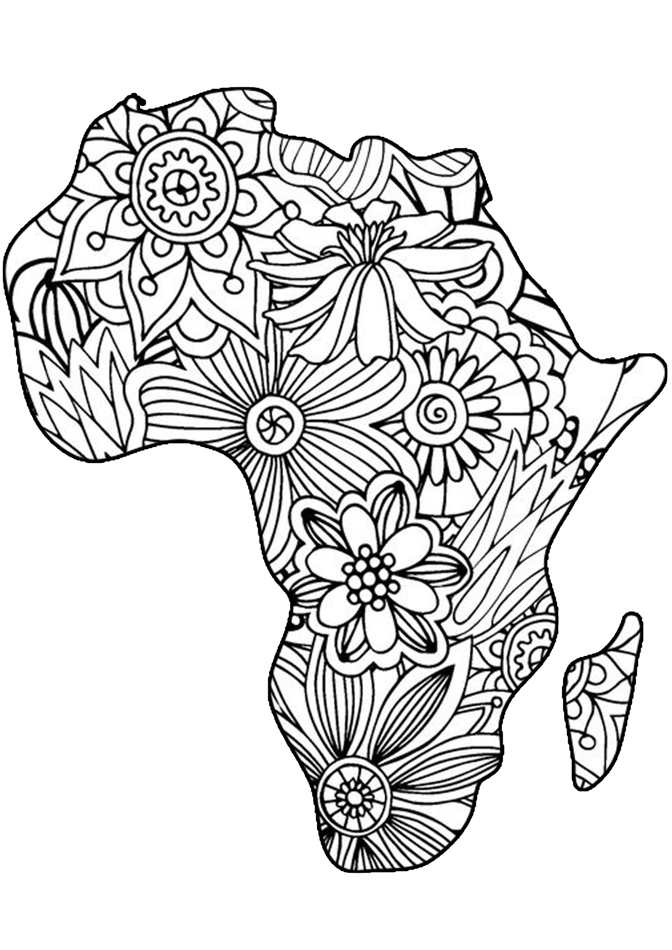 Adult Coloring Pages Africa